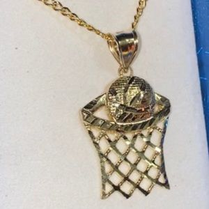 10k Gold Chain with Basketball Hoop Charm